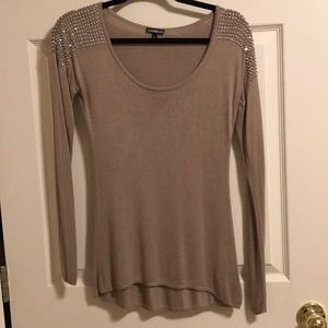 Express brown/taupe studded sweater size small